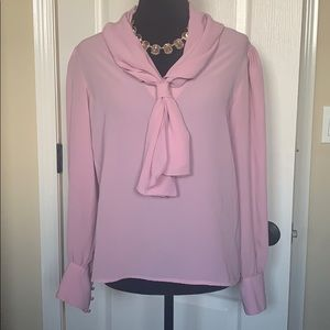 Blush pink blouse with tie infront